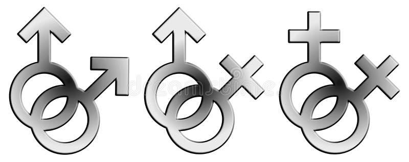 Signe gravé en relief de mâle et de femelle illustration libre de droits