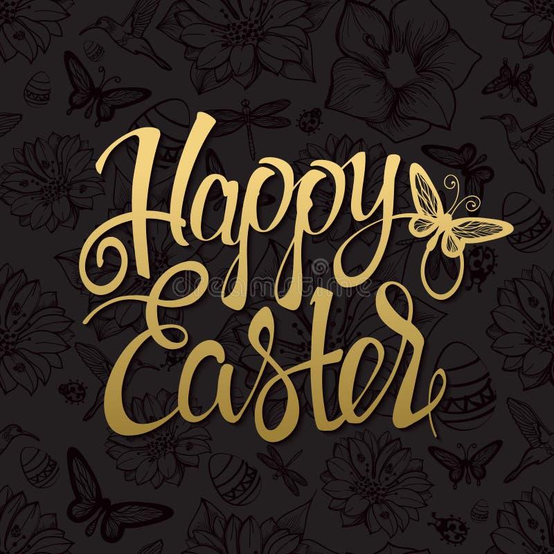 Signe heureux d'or de Pâques, symbole, logo sur le fond noir illustration libre de droits