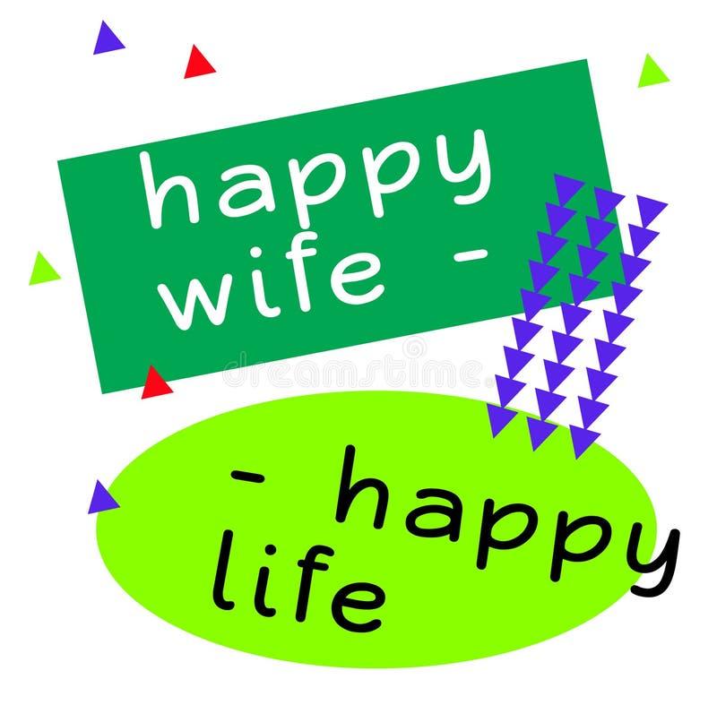 Signe heureux de citation de la vie d'épouse heureuse illustration libre de droits