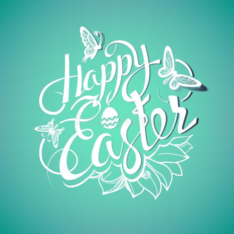 Signe heureux de Pâques, symbole, logo illustration stock