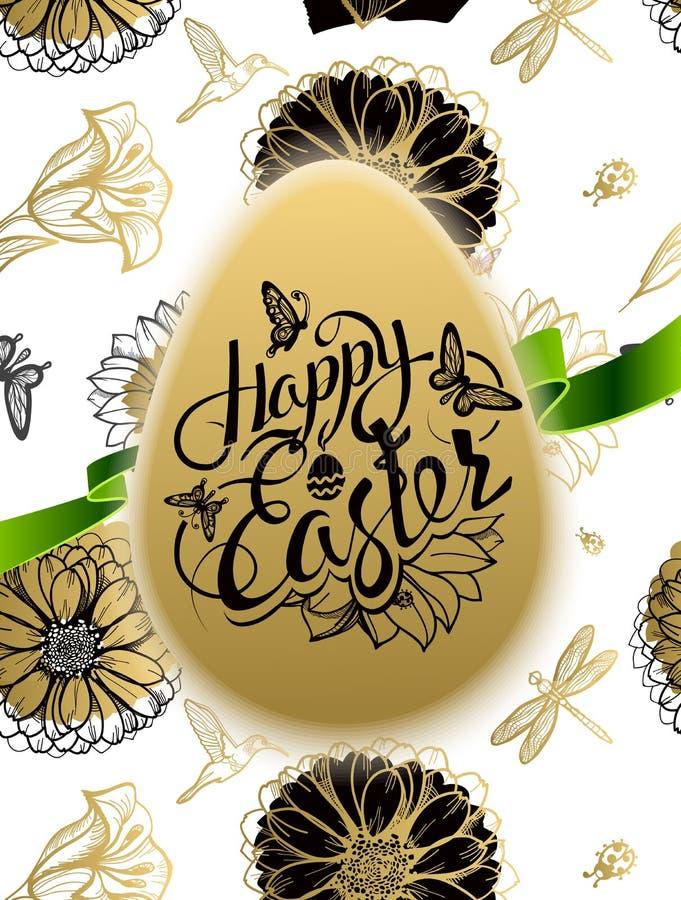 Signe heureux de Pâques, symbole, logo sur le fond illustration stock