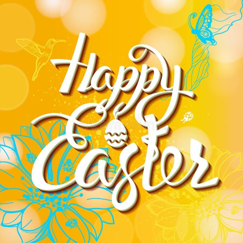 Signe heureux de Pâques, symbole, logo sur un fond jaune avec les fleurs illustration stock