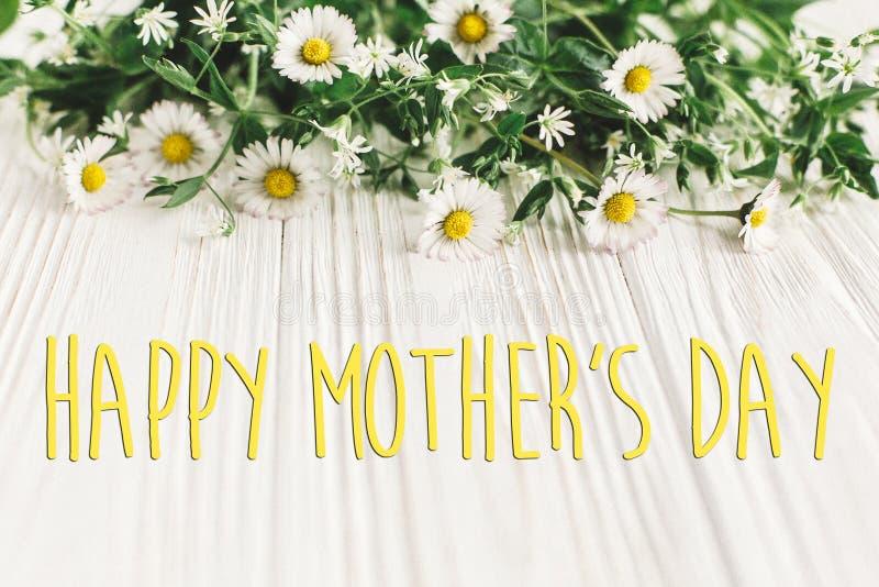 Signe heureux des textes de jour du ` s de mère Carte de voeux fleur douce de marguerite images stock