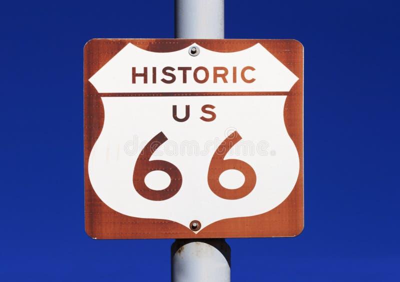 Signe historique de l'artère 66 des USA image stock