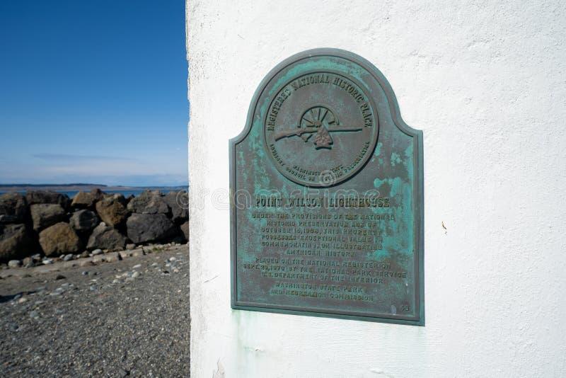 Signe historique de plaque pour le point Wilson Lighthouse photographie stock