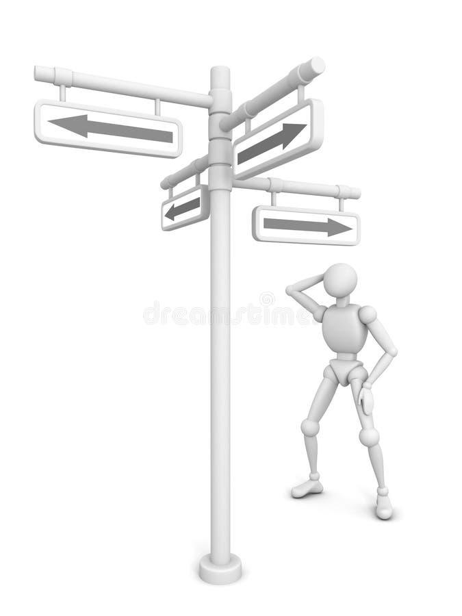 Signe humain pensant de flèche de chiffre et de carrefour illustration libre de droits