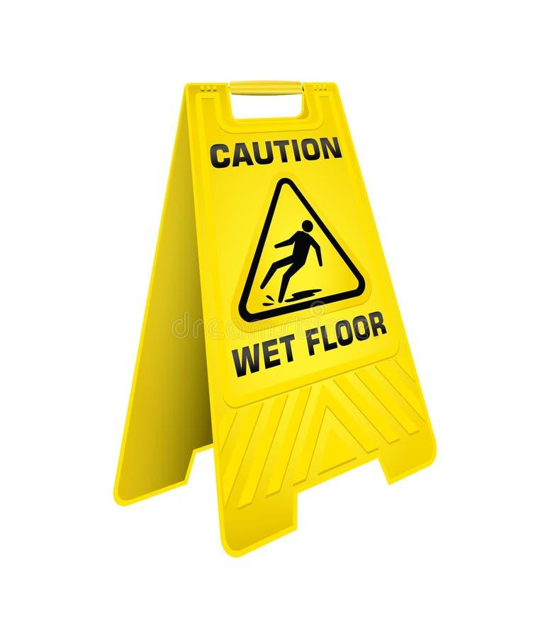 Signe humide de jaune de plancher de précaution illustration libre de droits