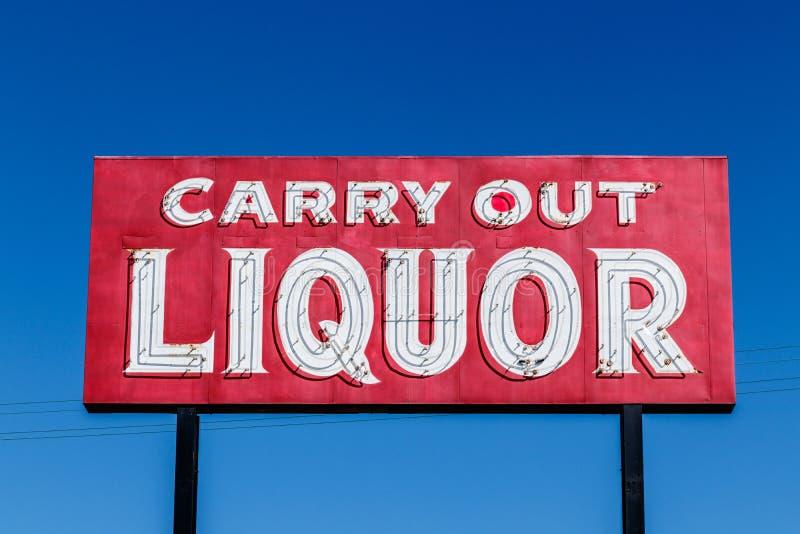 Signe I de Carry Out Liquor photographie stock