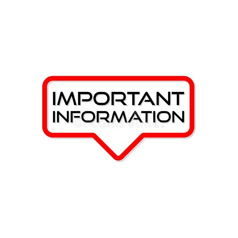 Signe, icône ou logo de l'information importante illustration libre de droits