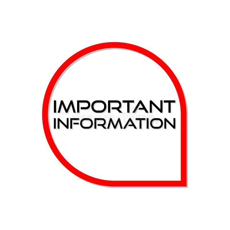 Signe, icône ou logo de l'information importante illustration de vecteur