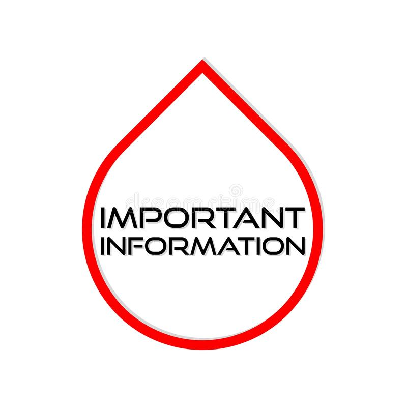 Signe, icône ou logo de l'information importante illustration stock