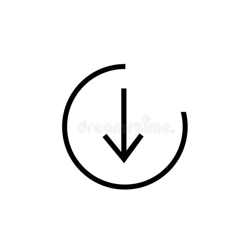 signe inférieur et symbole de vecteur d'icône d'isolement sur le fond blanc, concept inférieur de logo illustration stock