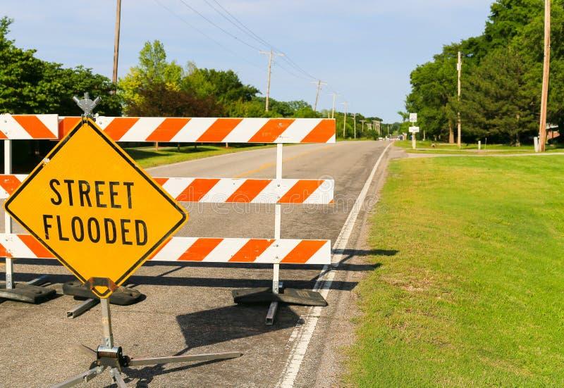 Signe inondé par rue image stock