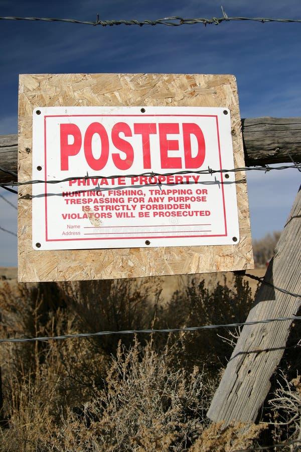 Signe inscrit de propriété privée image stock