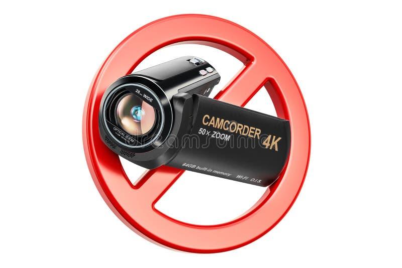 Signe interdit avec le caméscope, caméra vidéo rendu 3d illustration stock