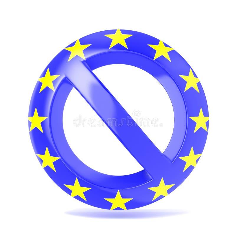 Signe interdit avec le drapeau d'UE 3d rendent illustration stock