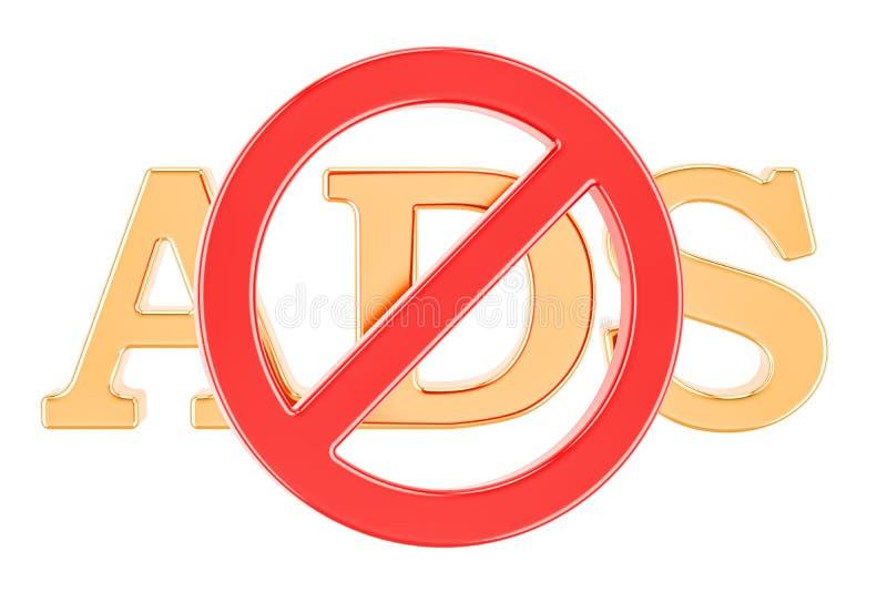 Signe interdit avec le texte d'ADS, rendu 3D illustration stock