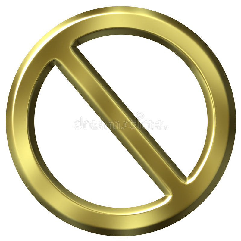 Signe interdit d'or illustration stock