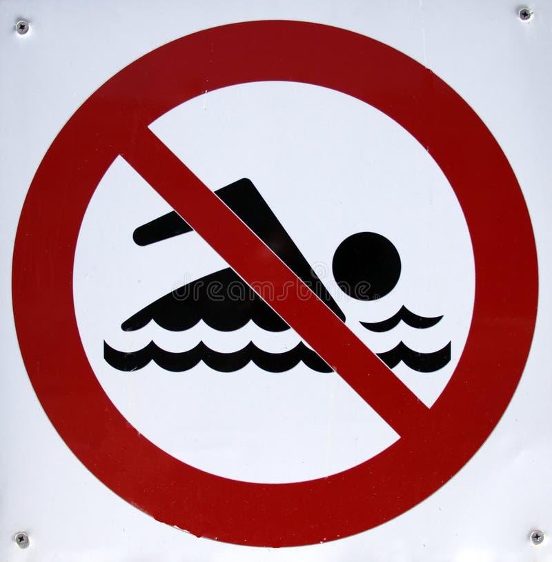 Signe interdit de natation photo libre de droits