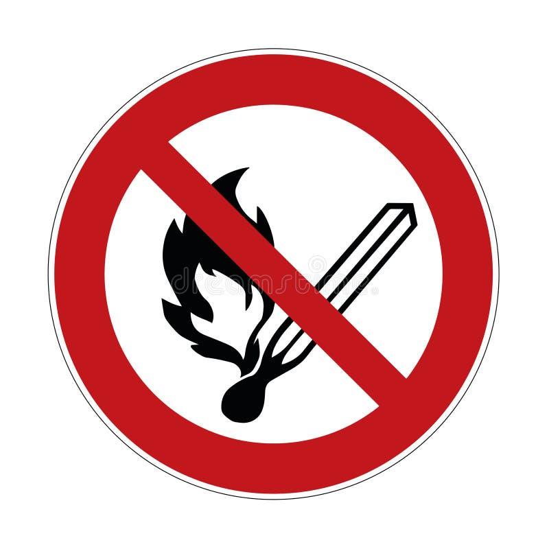 Signe interdit par feu - précaution, panneau d'avertissement - illustration illustration stock