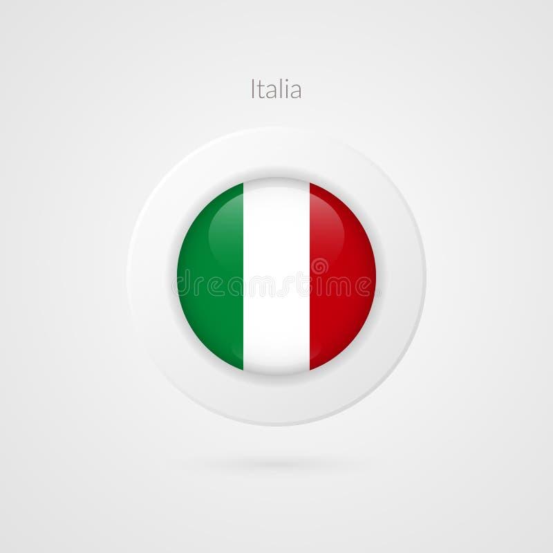 Signe italien de drapeau de vecteur Symbole de cercle de l'Italie Icône d'illustration de pays européen pour le voyage, publicité illustration stock