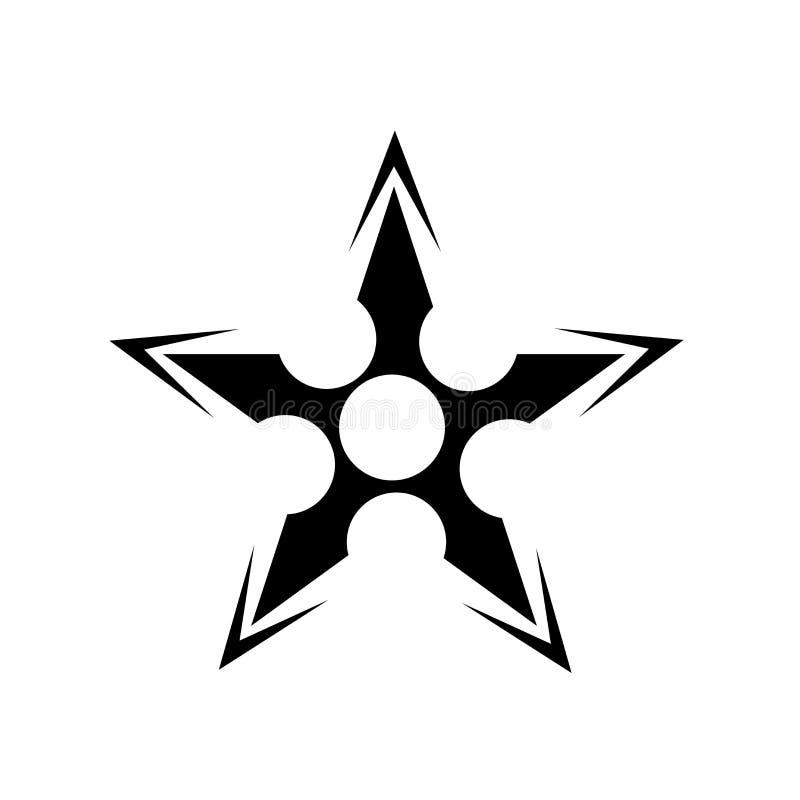 Signe japonais et symbole de vecteur d'icône de Shuriken d'isolement sur le fond blanc, concept japonais de logo de Shuriken illustration de vecteur