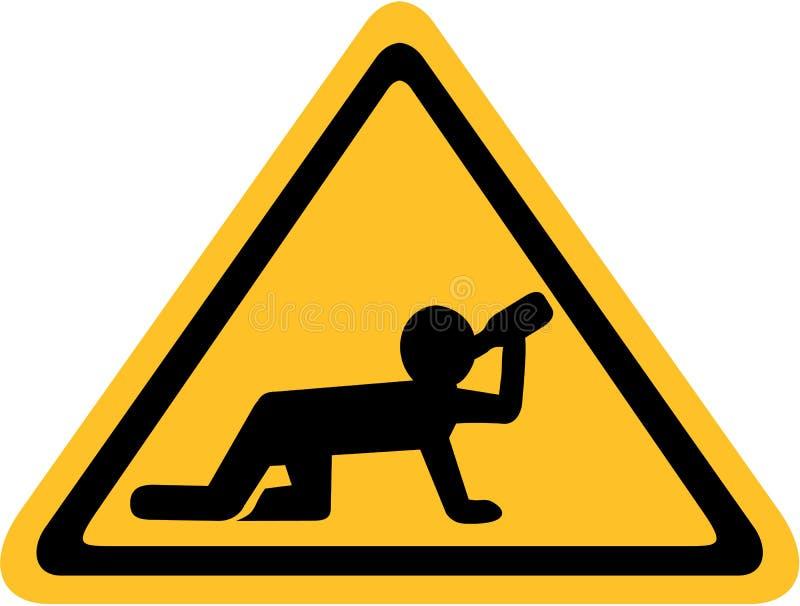 Signe jaune avec l'homme ivre rampant sur tous les fours illustration de vecteur