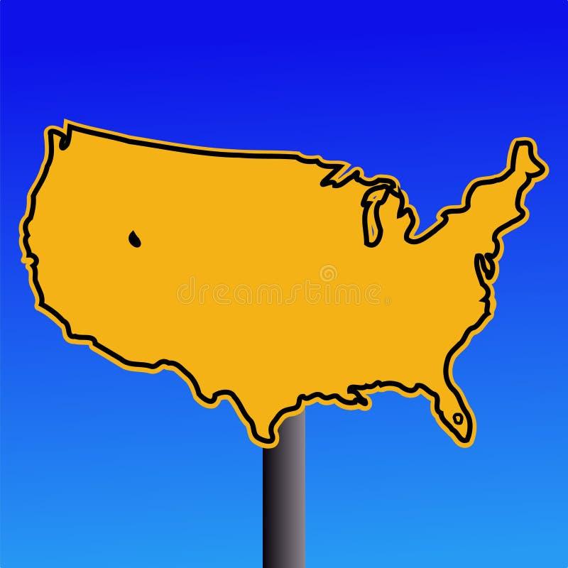 Signe jaune de carte des Etats-Unis