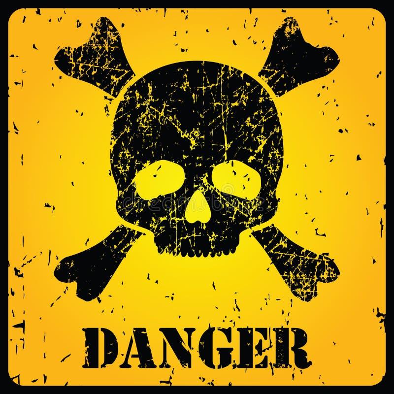 Signe jaune de danger avec le crâne illustration stock