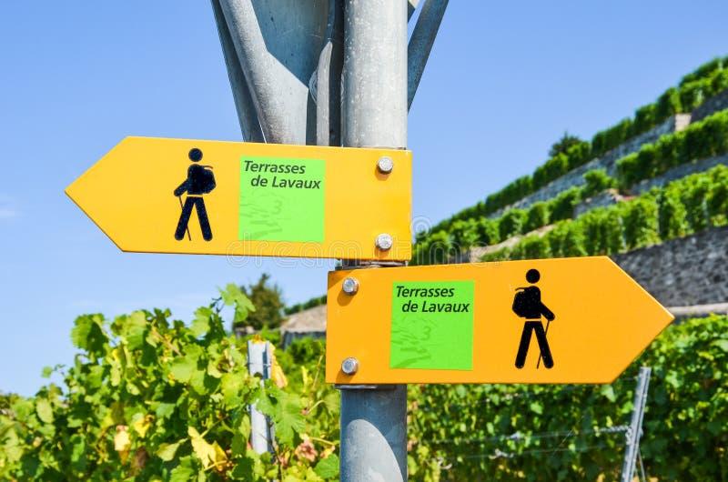 Signe jaune de touriste dans les terrasses indiquantes françaises de Lavaux donnant des directions dans la région célèbre de vin  photos stock