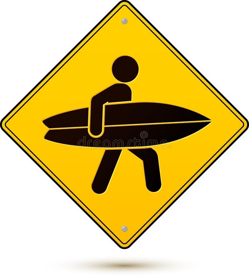 Signe jaune et noir de précaution avec le surfer illustration stock