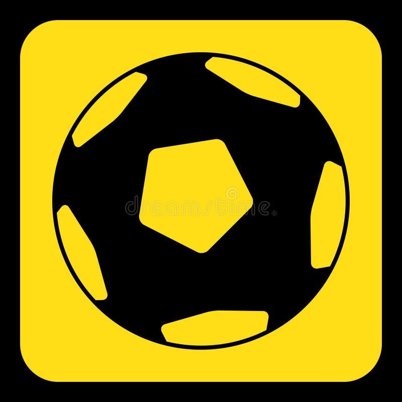 Signe jaune et noir - le football, icône de ballon de football illustration de vecteur
