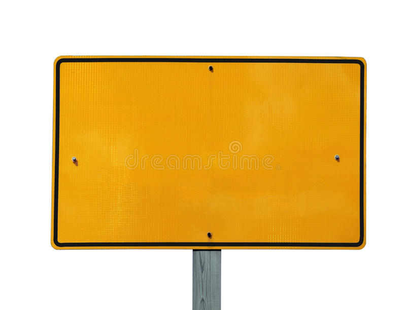 Signe jaune r3fléchissant blanc images stock