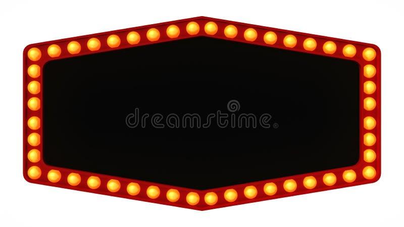 Signe léger de panneau de chapiteau rétro sur le fond blanc rendu 3d illustration libre de droits