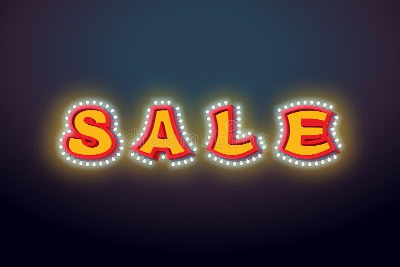 Signe léger de vente avec des lampes ampoule de lettre de remise rétro vi illustration libre de droits