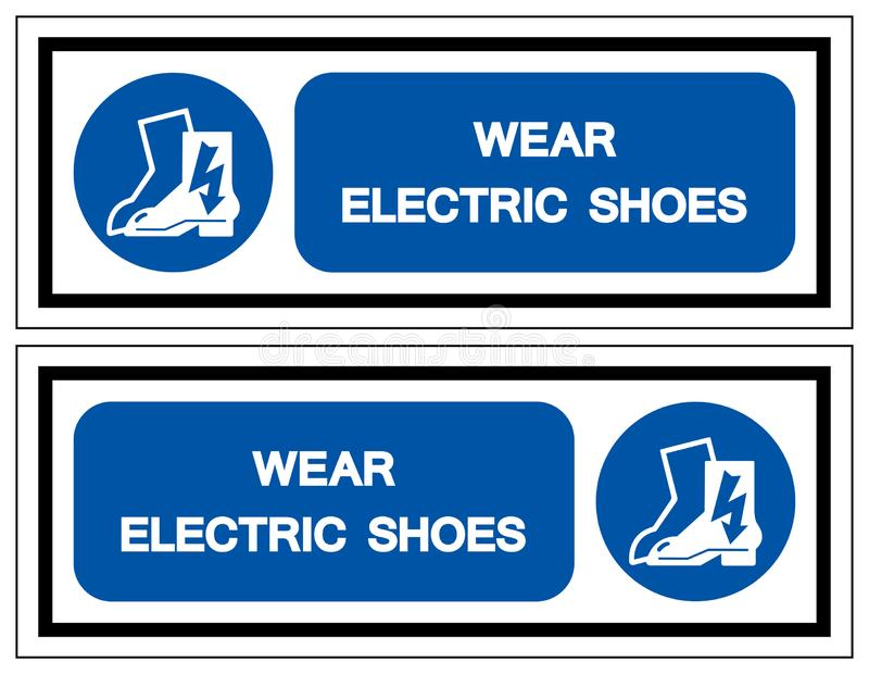 Signe ?lectrique de symbole de chaussures d'usage, illustration de vecteur, isolat sur le label blanc de fond EPS10 illustration stock