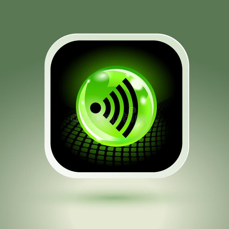 Signe libre de Wifi avec l'icône carrée de style illustration stock