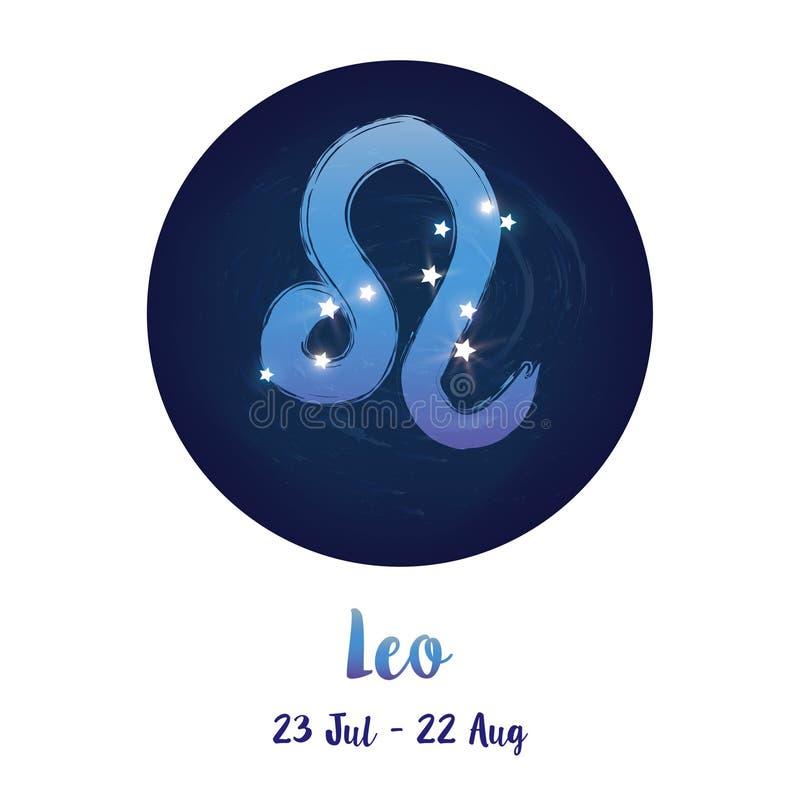 Signe Lion de zodiaque dans l'espace cosmique d'étoiles avec l'icône de constellation de Lion Ciel nocturne étoilé bleu à l'intér illustration de vecteur