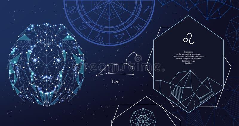 Signe Lion de zodiaque Le symbole de l'horoscope astrologique Banni?re horizontale illustration de vecteur