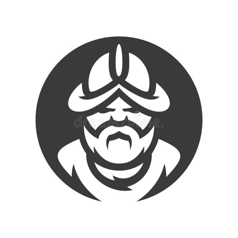 Signe médiéval de silhouette de vecteur de guerrier de conquérant de conquérant illustration stock