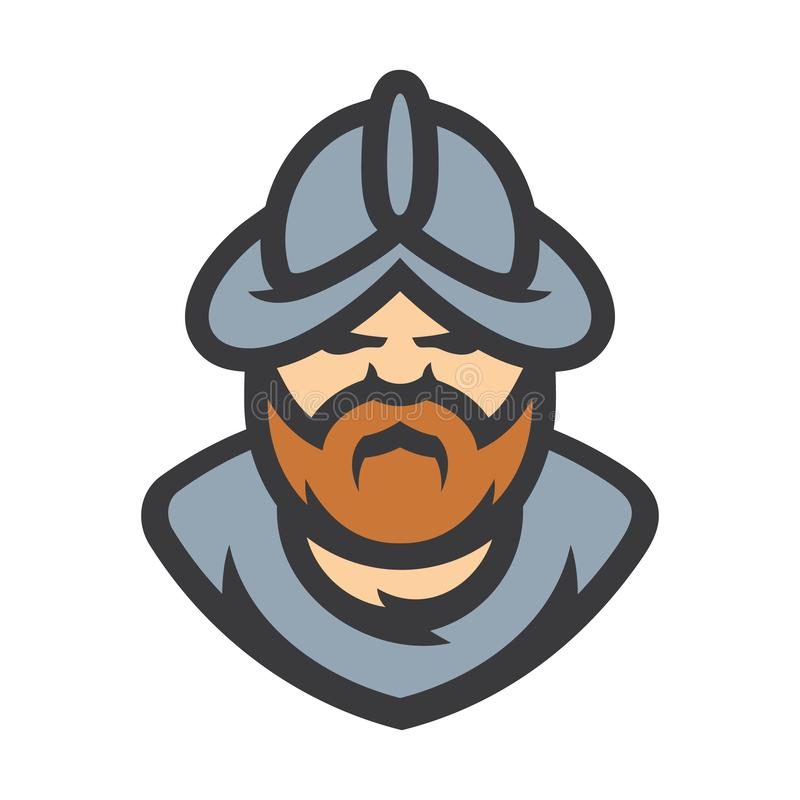 Signe médiéval de vecteur de guerrier de conquérant de conquérant illustration libre de droits