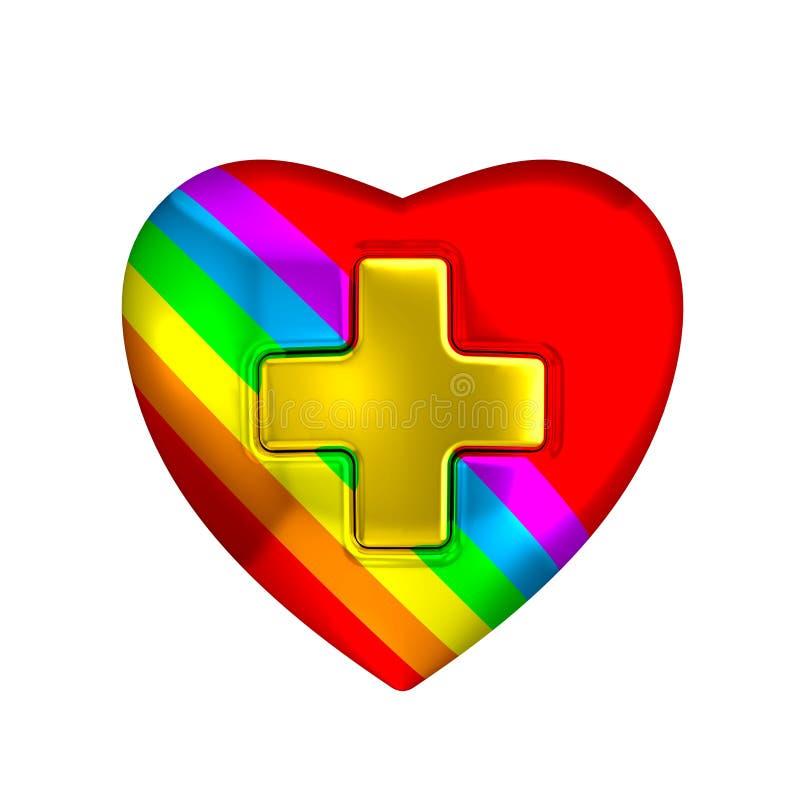 Signe médical de croix d'or de coeur de couleur d'arc-en-ciel illustration stock