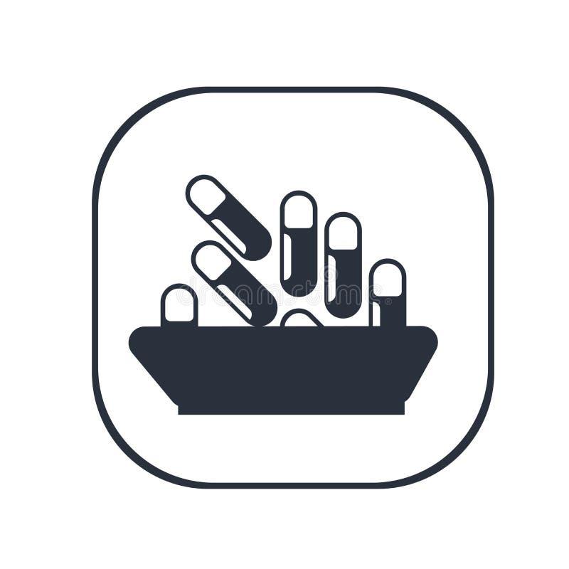 Signe médical et symbole de vecteur d'icône de pilule d'isolement sur le fond blanc, concept médical de logo de pilule illustration de vecteur