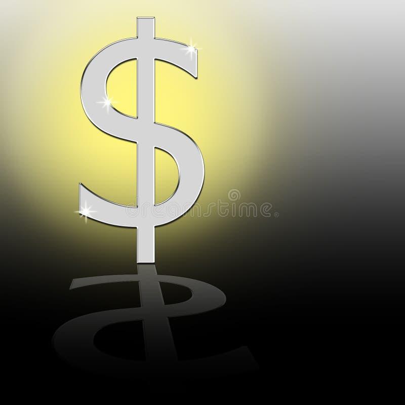 Signe métallique du dollar. illustration stock