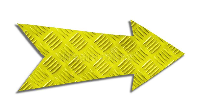 Signe métallique jaune de flèche de direction de fer avec le modèle industriel en acier de texture en métal de plat de contrôleur photos stock