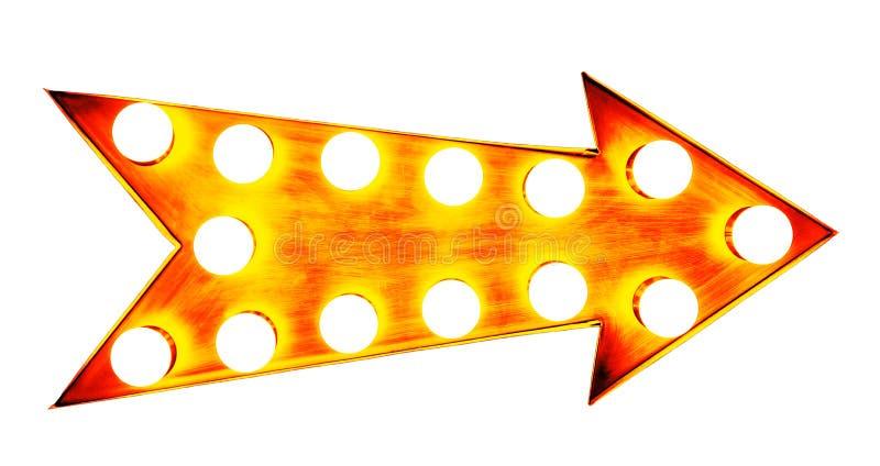 Signe métallique lumineux lumineux et coloré de vintage d'or orange, jaune et rougeâtre d'affichage de flèche avec les ampoules r illustration stock