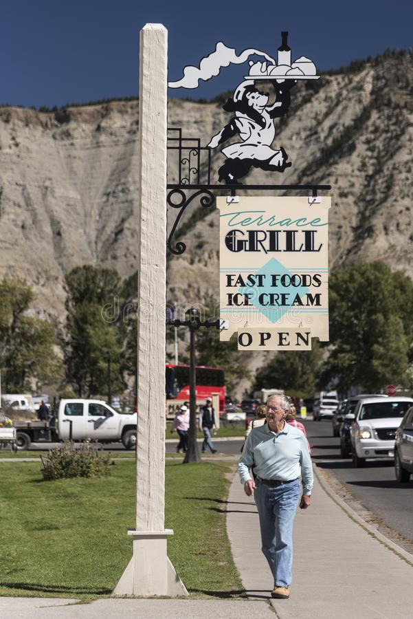 Signe Mammoth Hot Springs Yellowstone de restaurant images stock