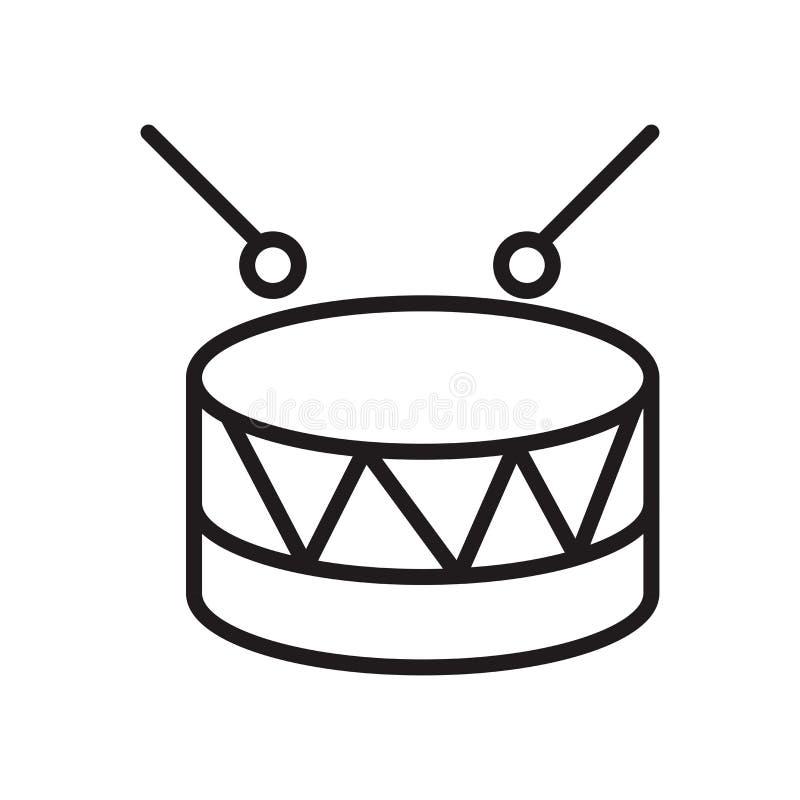 Signe militaire et symbole de vecteur d'icône d'instrument de musique de tambour d'isolement sur le fond blanc, logo militaire d' illustration libre de droits