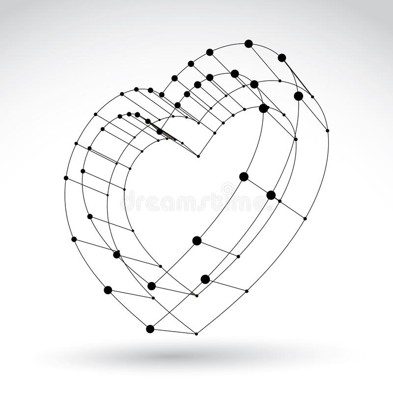 signe monochrome de coeur d'amour de Web élégant de la maille 3d illustration de vecteur