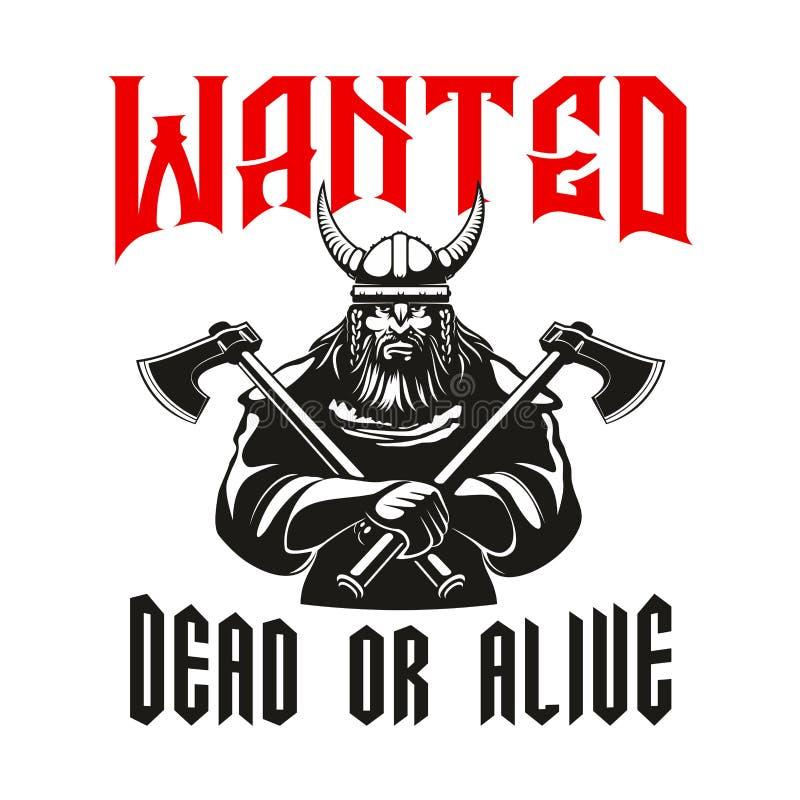 Signe mort ou vivant voulu de guerrier illustration de vecteur
